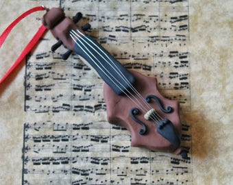 Cello Christmas Ornament - Polymer Clay Cello Ornament - Hand Sculpted Cello Ornament - Handmade Cello Ornament - Gifts for Cellists