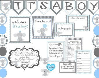 Elephant Baby Shower, Complete Digital Package, Elephant Shower Decorations, Elephant Babyshower, It's a boy Baby Shower