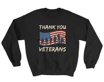 Thank You Veterans US Armed Forces American Flag Banner Sweatshirt