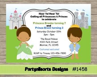 DIY - Princess and Prince/Tiana/ Dark Skin Childrens Party Invitations Cards.
