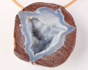 Natural Large Dugway Agate Geode Pendant