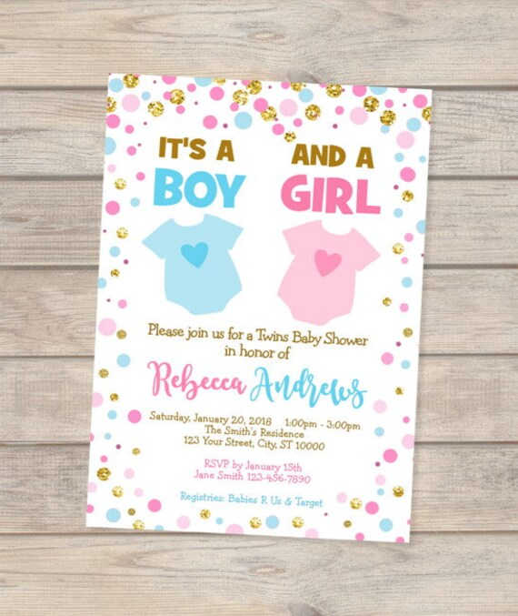 Twins Blue And Pink Baby Shower Invitation Boy And Girl Twins Baby