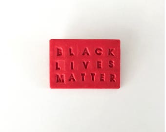 Black Lives Matter pin - handmade with polymer clay and a nickel free clasp