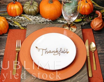 Thanksgiving Table / Place setting / Styled Stock Photography / Fall Table / Table Decor / Mock up / Menu  / Table Setting / StockStyle-885