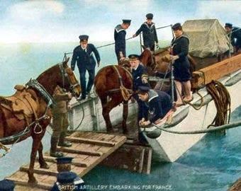 British Artillery Embarking To France