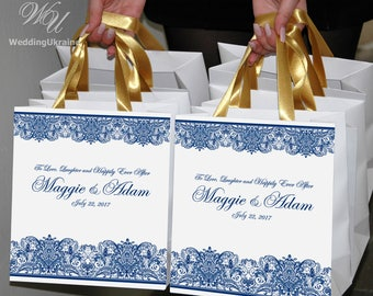 25 to Love, Laughter and Happily Ever After gift bags for Wedding favors for guests - Personalized Welcome bags with satin ribbon and names