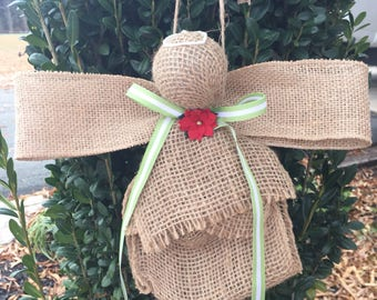 Burlap angel Christmas ornaments