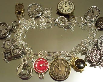 Clocks, Watches, TME AFTER TIME. Hobbeedesgins Free Shipping, Charms,  Watch Bracelet, Chain Bracelet, Holiday Bracelet,