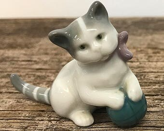Miniature Porcelain Kitten Figurine Germany Cat Figurine Gray White Kitty with Ball Cat Lover Gift