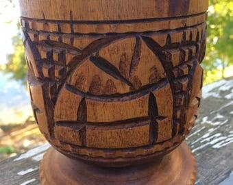 Vintage Carved Wood Vase, Wooden Vase, Boho Decor, Wooden Carved Holder, Folk Art Decor, Rustic Decor, Wood Vessel, Succulent Planter