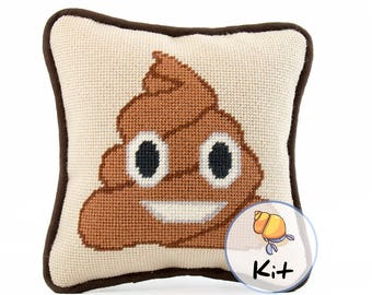 Needlepoint Emoji Poop Mini Pillow Kit, Small Needlepoint Kits, Beginner Needlepoint Pillow, Emoji Canvas, Fun Modern Needlecraft kit, 8x8