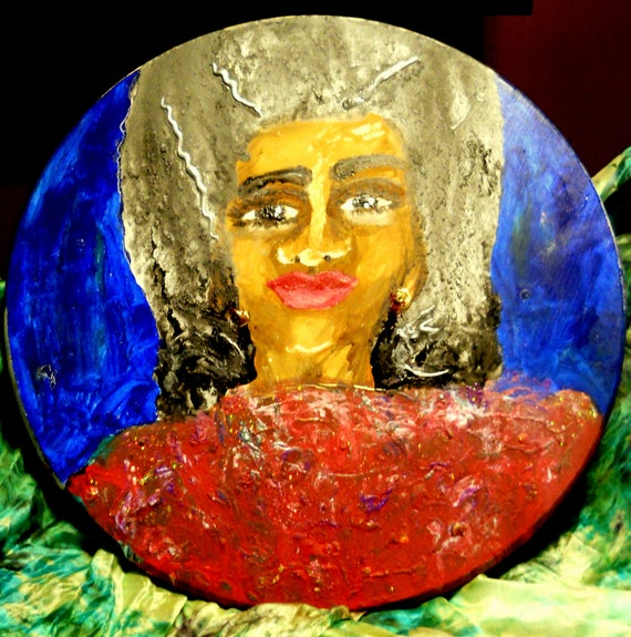 "Acrylic painting on 18"" Round Spruce Panel 1.5"" thick, ""I Can Still Love"" Outsider Folk Art, African American Artist Stacey Torres"