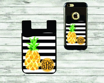Monogram Cell Phone Caddy, ID Holder, Personalized Gift, Credit Card Holder, Gift Idea, Pineapples