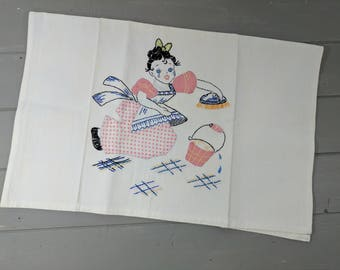 Vintage Hand Embroidered Appliqued Cleaning Girl Kitchen or Tea Towel, Textured Heavy Cotton Dishtowel
