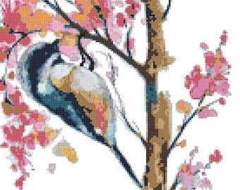 "robbery bird watercolor counted Cross Stitch Pattern chart pdf format embroidery - 10.64"" x 13.29""  - L1484"