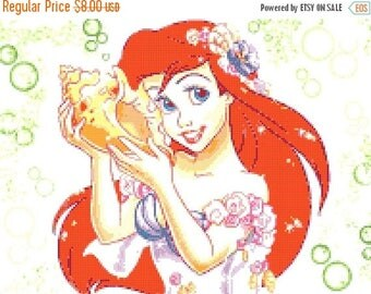 "Princess Ariel Counted Cross Stitch Princess Ariel Pattern вышивки крестом クロスステッチ korssting - 13.79"" x 10.36"" - L324"