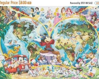 "Disney World Map Counted Cross Stitch Disney World Map pattern needlepoint needlepoint kreuzstitch - 35.43"" x 25.14"" - L647"