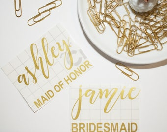 Bridesmaids gifts, vinyl decal, calligraphy decal, personalized bridesmaids gifts, personalized wedding gifts, bridal shower gifts, wedding