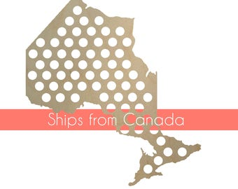 Ontario Beer Cap Map *HUGE* Holds over 60 caps, Cap Holder, Cap Display. Gift for Beer Lovers, Gift for Him, canada cap map Gift, Christmas