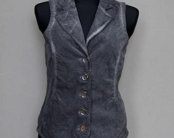 Grey Velvet Fitted Military Vest Vintage WOMEN'S Waistcoat Steampunk Vest Velvet Buttoned Military Jacket Size Medium