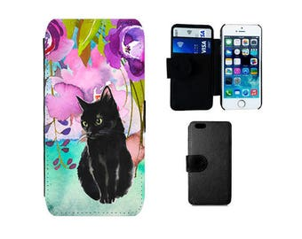 Wallet iPhone case iPhone 6, 6S, 7 Plus, X 8 SE 5S 5C 4S Samsung Galaxy flip S8 S7 S6 Edge, note 5 S5 S4 mini phone cover black cats. F325
