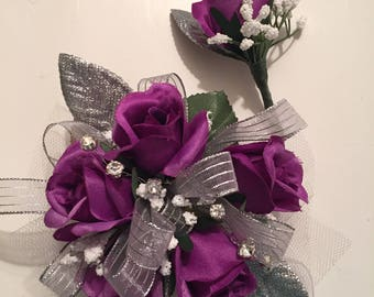 Homecoming Corsage Purple and Silver Silk Wrist Corsage