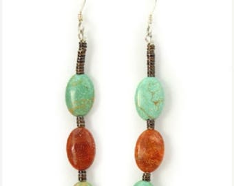 Turquoise Coral Pipestone Dangle Santo Domingo Earrings