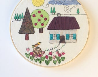 Embroidery landscape on circle embroidery - door decoration - textile painting