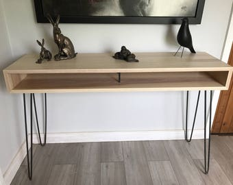 Solid ash console table, steel hairpin legs, hallway furniture, contemporary/minimalist/mid-century modern style table