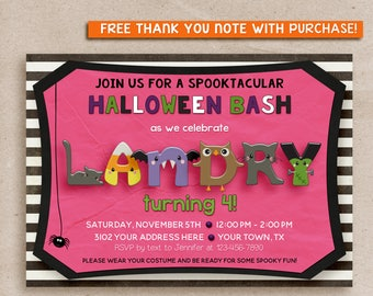 HALLOWEEN Birthday Party Invitation, Kids Halloween Party Invitation, HALLOWEEN INVITATION