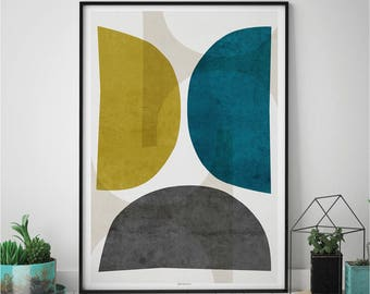 Abstract Wall Art Print, Living Room Print, Modern Wall Art Print, Yellow and Teal Wall Art, Minimalist Print, Fine Art Print, A2 Print