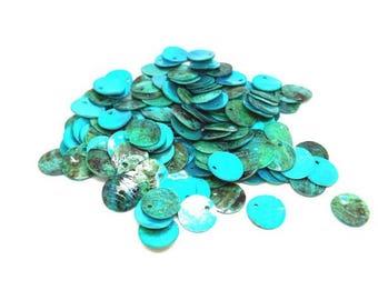 150 Pearl 13mm dark Turquoise beads