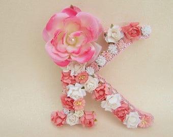 Flower name letter - Custom name letter - Nursery letter - Wedding decor - Floral name letter - Flower letter K - Shabby chic letter - Decor