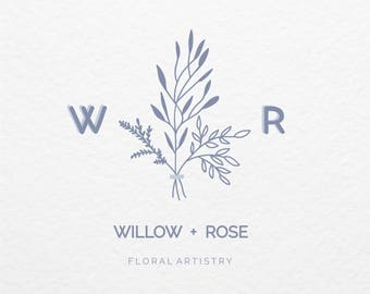 Pre Made Logo // Illustrated Minimalistic Botanical Logo Design // Hand Drawn // Customized with Your Name // Premade Logo Design