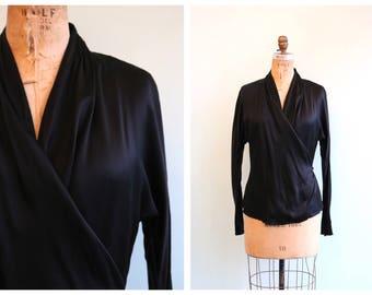 Vintage 1980's Inky Black Silk Blouse | Size Medium