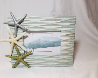 Starfish Picture Frame, Nautical Picture Frame, Seashell Frame, Coastal Decor, 4 x 7 Picture Frame