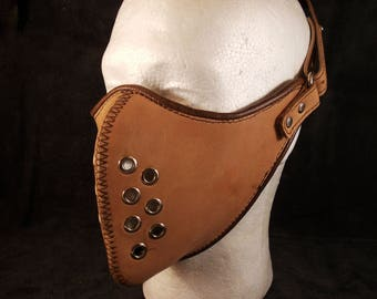 FREE SHIPPING! Vegetable tanned leather motorcycle mask