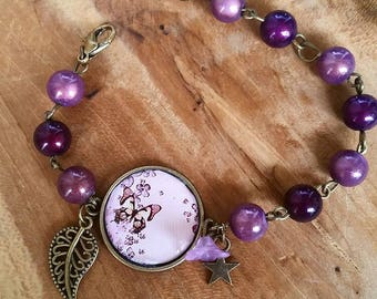 Bracelet: pretty butterflies and purple