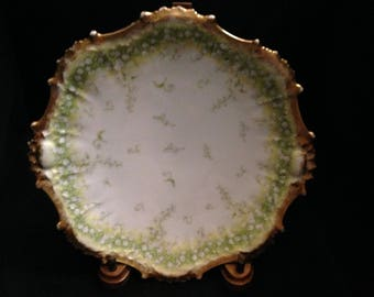Limoges French Porcelain Plate Heavy Gold & Green Fancy Floral by Elite