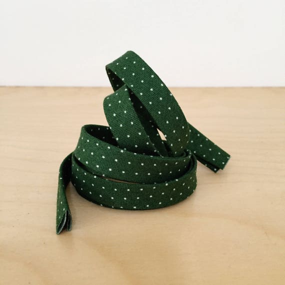 """Bias Tape in Vintage Green with White Polka Dots Cotton 1/2"""" double-fold bias tape- Christmas Holiday collection- 3 yard roll"""