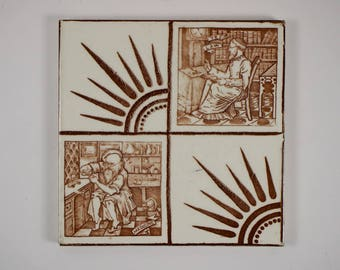 Antique 1880s Wedgwood Ye Law and Medicine Aesthetic Movement pottery tile.