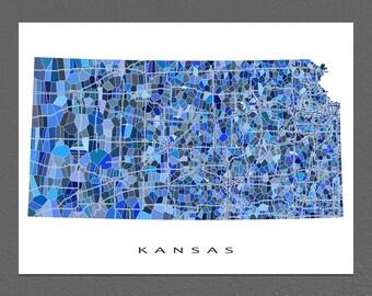 Kansas Map Print, Kansas State Art, KS Wall Artwork