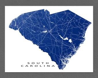 South Carolina Map, South Carolina State Art, USA Maps, Columbia, Charleston