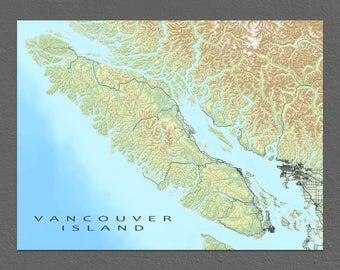 Vancouver Island Map Print, Landscape Art, BC Canada, Victoria