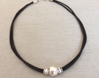 Black Leather Beaded Necklace Silver Bead Leather Choker Necklace Beaded Leather Necklace Minimalist Statement Necklace Short Necklace Gift