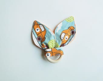 "Teething ring ""vintage car"" in cotton and fleece,  montessori inspiration"