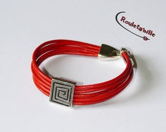 Bracelet leather, red square old silver