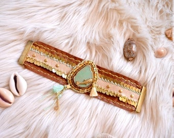 "Bracelet cuff ""BOHO//CHIC Inspired"" Leathers, Charms, Cotton thread, Amazonite slice, Laiton apprets, Laiton beads, Facetted beads, Pyrite"