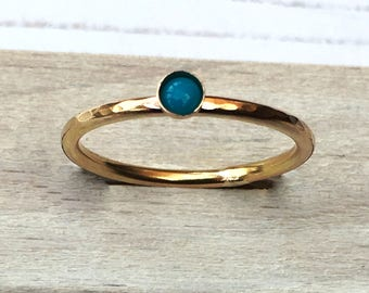 Turquoise ring, December birthstone ring, Gold gemstone stacking ring, Gold fill ring, Gift for her, Handmade Mothers Day or  birthday gift