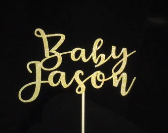 Custom cake topper,Baby Shower cake topper, Baby ShowerGold Glitter party decorations, Baby Name Cake topper,Baby Shower
